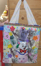 Handmade Quilted Large Bag Pink Blue Cotton Fabrics Cat Purse 21 X 19 inch Tote