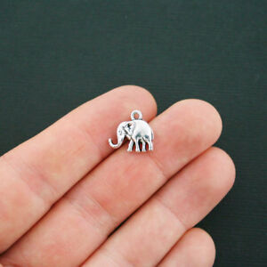 8 Elephant Charms Antique Silver Tone 2 Sided - SC4456