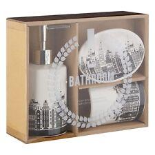 3 Piece Bathroom Accessory Set Tumbler Soap Dish Dispenser Skyline White Black