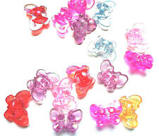 10 pcs 3D assorted butterfly AB coloured acrylic beads 23x17mm