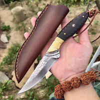 VG10 DAMASCUS STEEL SURVIVAL OUTDOOR CAMPING HUNTING KNIFE FIXED BLADE W/ SHEATH