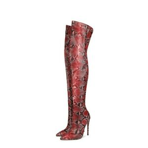 Women's Snake Skin Pattern Over The Knee Boots High Heel Pointy Toe Shoes Club L