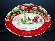 Fitz Floyd Home Warms The Heart Holiday Sentiment Tray Christmas Xmas Cookie Pla