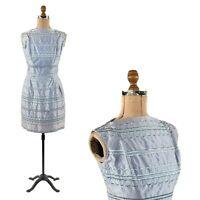 Vintage 50s Gigi Young Pale Lavender Satin Sleeveless Embroidered Cocktail Dress
