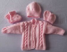 Hand knitted cable pattern cardiga/hat/& booties set in pink newborn baby girl