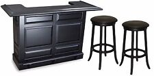 Imperial Home Bar w/ 2 FREE Stools Set - Black Finish - Special Price!