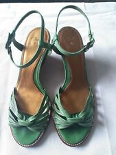 Clarks Green Leather Wedge Sandals Size Uk 7
