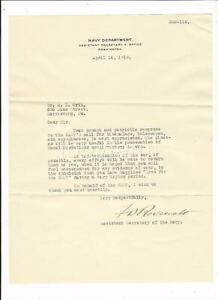 Signed FRANKLIN D ROOSEVELT Letter 5 piece contents APRIL 1918 EYES FOR THE NAVY