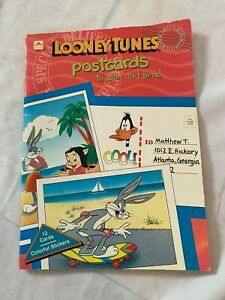 LOONEY TUNES Postcards 12 Cards To Color & Send + Stickers Golden Book 1992 NEW