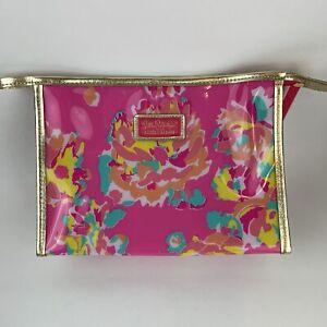 Lilly Pulitzer For Estee Lauder Floral Plastic Makeup Bag Pink Fabric Inside