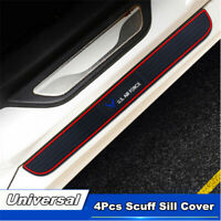 Car Rubber Door Sill Scuff  Welcome Plate Cover Decal Sticker Front + Rear 4PCS