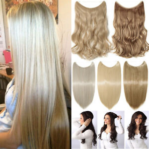 100% Real Long Wire Hair Extensions Invisible Hidden Halos Secret Headband FH3