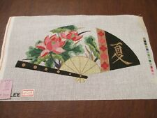 """New ListingHandpainted Canvas - Japanese Fan - 5.5"""" X 10"""""""