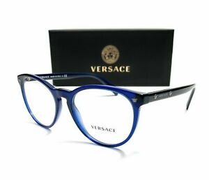 Versace VE3257 5125 Blue Demo Lens Unisex Round Eyeglasses Frame 53mm