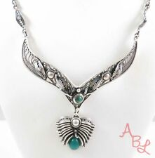 Sterling Silver Vintage 925 Antique Malachite & Jade Necklace 16'' 31.6g 745055
