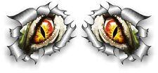 Small Pair STD RIP Ripped Torn Metal & Evil Eye Monster Peeping car sticker