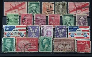 USA -  Air Mail Stamps Used  - 1c, 3c 6c Cent Green Washington - War Tax - 45