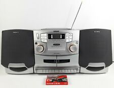 Sony Boombox Dual Cassette Radio CD Player Removable Speakers Model CFD-ZW755