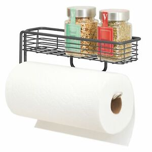 mDesign Wall Mount Metal Paper Towel Holder with Storage Shelf - Graphite Gray