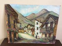 tableau ancien huile sur panneau DEBOSSCHERE 1960 (XXe-s) village de montagne