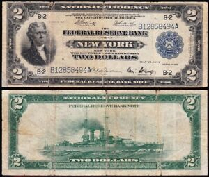 "1918 $2 New York ""BATTLESHIP"" FRBN Note! FREE SHIPPING! B12858494A"