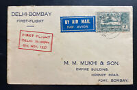 1938 Delhi India First Flight Airmail Cover FFC To Bombay