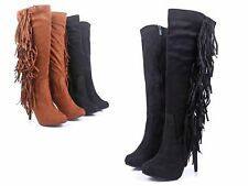 Black Fringes Decor Knee-High Over Calf Stiletto Heels Womens Boots Size 10