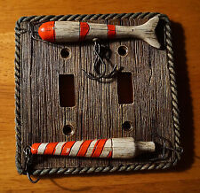 FISHING LURE DOUBLE TOGGLE LIGHT SWITCH PLATE COVER SWITCHPLATE CABIN DECOR NEW