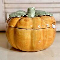"Vintage Italian 5"" Halloween Orange Pumpkin Gourd Lidded Condiment Jar W/Spoon"