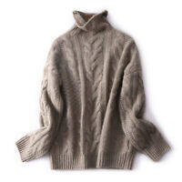 Womens Ladies Turtleneck Winter Tops Chunky Knitted Oversized Sweater Jumper New