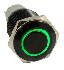 16mm Black case 12V Green Angel Eye Metal LED Momentary Push Button Switch Car