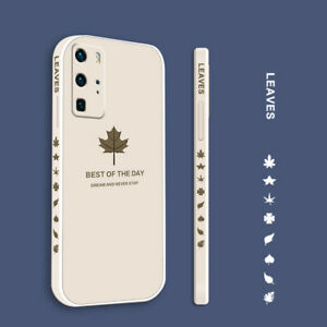 For Huawei P50 P40 Pro Mate 40 Nova 8 Shockproof Leaf Liquid Silicone Case Cover