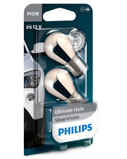 PHILIPS BAU15s CHROM SILVER VISION SET 12V 21W PY21W LAMPEN FRONT BLINKER PAAR