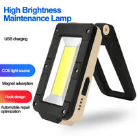 USB COB LED Flashlight Magnetic Work Light Rechargeable Torch Folding Hook Tent