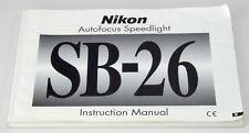 NIKON SB-26 Autofocus Speedlight Instructions