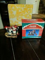 Coca-Cola Kurt Adler Christmas Village Figurine Penguins with Skates Coke