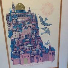 Amram Ebgi Signed CITY OF DAVID Orig Litho Embossed Judaica Ltd Ed 205/950 COA