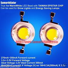 20 pcs 1W Warm White LED diode Real 1 Watt Growlight UltraBright TAIWAN EPISTAR
