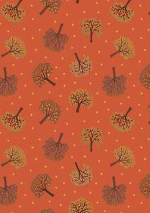 Lewis & Irene THE ORCHARD TREES - Burnt Orange Fabric 100% COTTON  per 1/4 metre