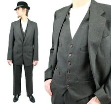 Vintage 3 Three Piece Suit 38L 33x32 Pinstripe Blazer Vest Pants Wool Dark Gray