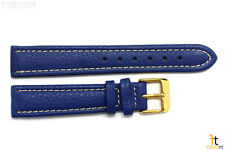 18mm Genuine Blue Leather Watch Band Strap Gold Tone Buckle for Heavy Watches