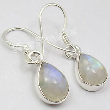 925 Sterling Silver DROP RAINBOW MOONSTONE TRADITIONAL LOVELY Earrings 1.1 Inch