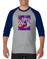 Raglan T-shirt 3/4 Sleeve Long Live Freedom Patriotic American