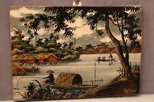 Panneau laqué sur bois au paysage signé Extrême-Orient Indochine