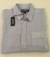 New w Tags AUTHENTIC Vilebrequin  Short Sleeve Blue & White Linen Shirt Men S