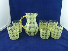 Hand Painted Pitcher and Six Glasses