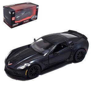 1:36 Chevrolet Corvette C7 Diecast Model Car Pullback Matte Black New in Box