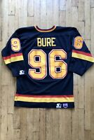 RARE!! VANCOUVER CANUCKS Men's NHL Starter Jersey M Pavel BURE #96 Black 1995