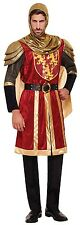Mens Red Gold Medieval St Georges Day Crusader Knight Fancy Dress Costume Outfit