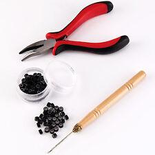 Hair Extension Micro Rings Beads & Pliers Hook Loop Needle Tool Full Kit